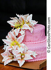 pink Wedding Cake with Lily