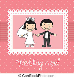 wedding card - pink wedding card with cute couple. vector...