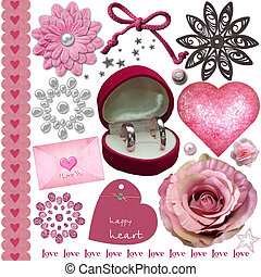 pink wedding elements set