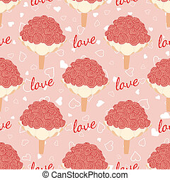 Pink wedding seamless pattern with bouquet