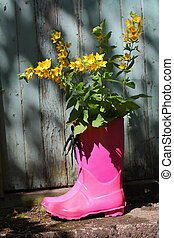 Pink wellingtons in front of an old shed - Pink wellingtons...