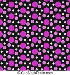 Pink, White and Black Polka Dot Tile Pattern Repeat Background