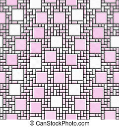 Pink, White and Black Square Mosaic Abstract Geometric Design Tile Pattern Repeat Background