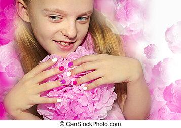 Pink white children's manicure .
