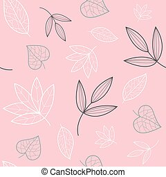 Pink, white green floral leaves seamless pattern. Great for modern wallpaper, backgrounds, invitations, packaging design projects. Surface pattern design. Vector