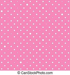 Pink White Star Polka Dots Background