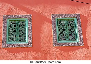 pink window in morocco africa old