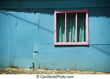 Pink Window on a Blue Wall in Costa Rica