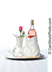 Pink Wine on Tray with Glasses and Rose