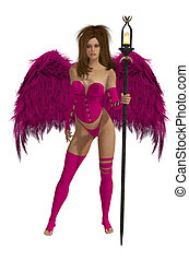 Pink Winged Angel With Brunette Hair - Pink winged angel...
