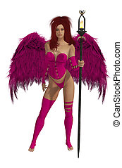 Pink Winged Angel With Red Hair - Pink winged angel with red...