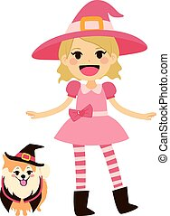 Pink Witch and Dog - Cute little girl wearing pink witch...