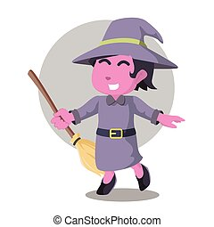 Pink witch cheerful holding her broom