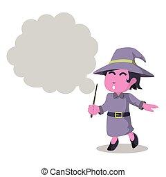 Pink witch holding making smoke callout