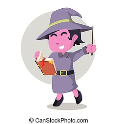 Pink witch holding tome and wand