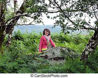 pink woman in the forest