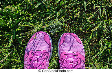 pink women sneakers with laces on fresh green grass,