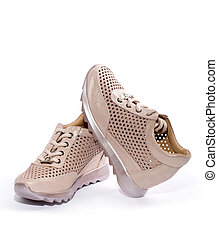 Pink Women's sneakers on a white background