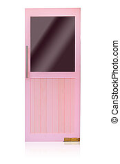 pink wood door isolated on white background