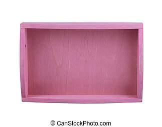 Pink wooden box top view on a white background.