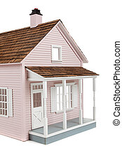 Pink wooden dollhouse on white