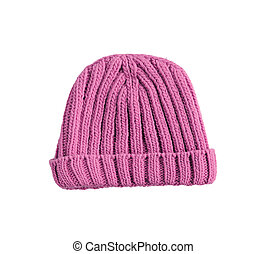 pink woolen winter hat isolated on white background