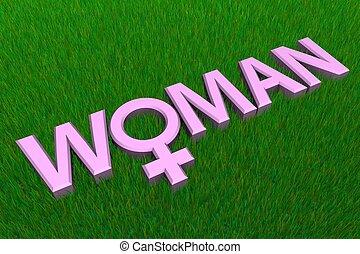Pink Word Woman On Grass/Gender Symbol