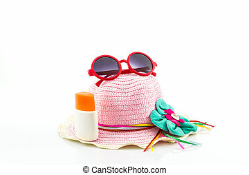 Pink woven hat. - Pink woven hat with body lotion and red...