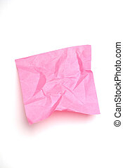 Pink wrinkled post it note isolated on white