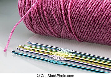 Pink Yarn and Hook - Crochet theme with five multicolored...