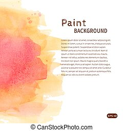 Pink yellow watercolor paint background