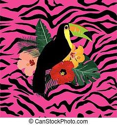 pink zebra toucan