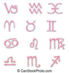 Pink Zodiac Stickers