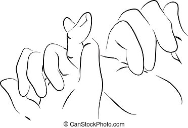 pinkie friends hand black and white simple line illustration