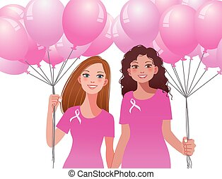 Pinkribbon concept - woman holding pink balloons