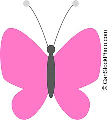 pinky butterfly illustration vector flat design