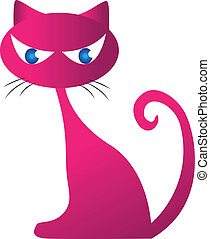 Pinky cat silhouette