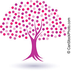 Pinky circles tree image. Concept of female and propsperus woman life. Vector icon