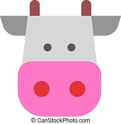 pinky cow illustration vector flat design