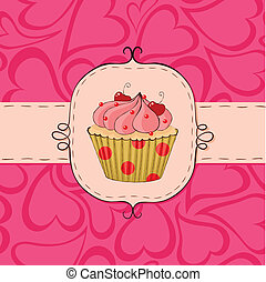 Pinky - Pink card with cupcake. Seamless hearts pattern in...