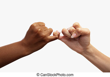 Pinky swear - Heart shaped hand gesture, usual gesture in...