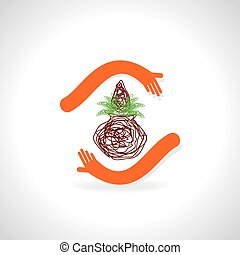 pinnacle care with hand vector illustration