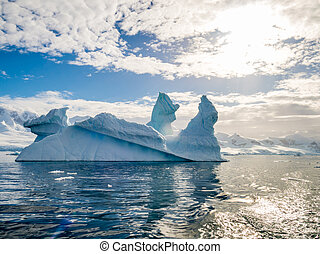 Pinnacle shaped iceberg in Andvord Bay near Neko Harbour, Antarctic Peninsula, Antarctica