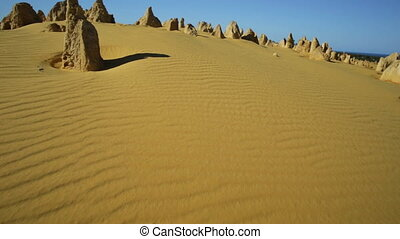 Pinnacles Desert aerial - Aerial view hyper lapse POV...