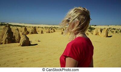 Pinnacles Desert close up walk - Close up walk of a carefree...