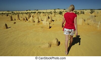 Pinnacles Desert woman - Western Australia travel freedom...