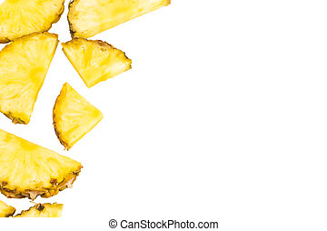 Pinneapple slices  pattern on white background  with copy space, top view