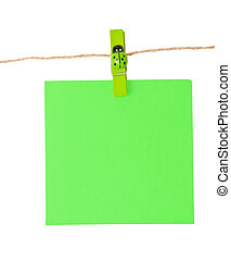 Pinned blue notepad isolated on white background, clipping path