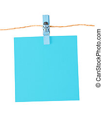 Pinned blue notepad isolated on white background