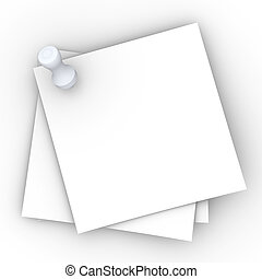 Pinned Notes - 3D rendered Illustration. Blank pinned notes...
